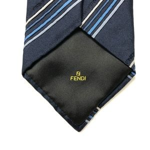Fendi Blue Navy Tie Italian Striped